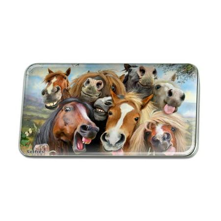 Horses Selfie Metal Rectangle Lapel Hat Pin Tie Tack Pinback