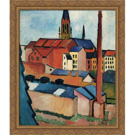 Wood Chimney - St. Mary's with Houses and Chimney (Bonn) 28x32 Large Gold Ornate Wood Framed Canvas Art by August Macke