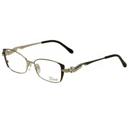 Diva Eyeglasses 5433 227 Anthracite/Silver/Crystal Full Rim Optical ...
