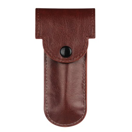 Fintie PU Leather Double Edge Safety Razor Protective Travel Case Cover with Felt Lining, Brown