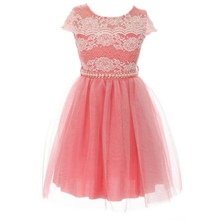 Wedding Dress Cap - Little Girl Cap Sleeve Lace Pearl Tulle Graduation Wedding Flower Girl Dress USA Coral 4 JKS 2133P BNY Corner