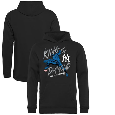 - New York Yankees Fanatics Branded Youth MLB Marvel Black Panther King of the Diamond Pullover Hoodie - Black