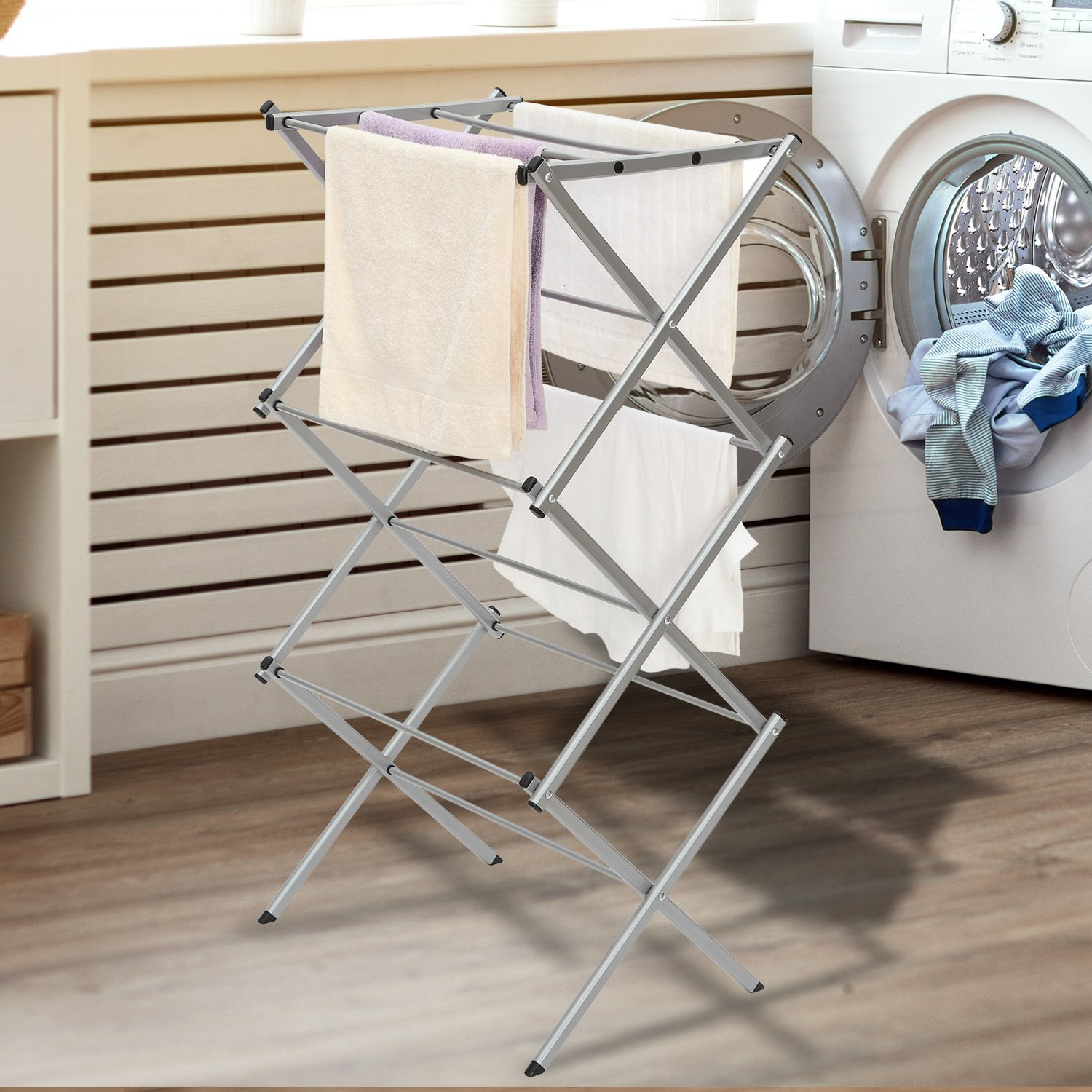 Ktaxon Folding Clothes Metal Drying Rack Towel Bathroom Rack Stand Shelf  Laudry Storage Organizer