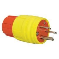 ERICSON Plug,Industrial,6-15P,15A,250VAC,Yellow 1514-PW6P-AM