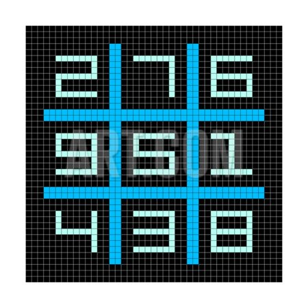 8-Bit Pixel Art Magic Square with Numbers 1-9 Print Wall Art By -