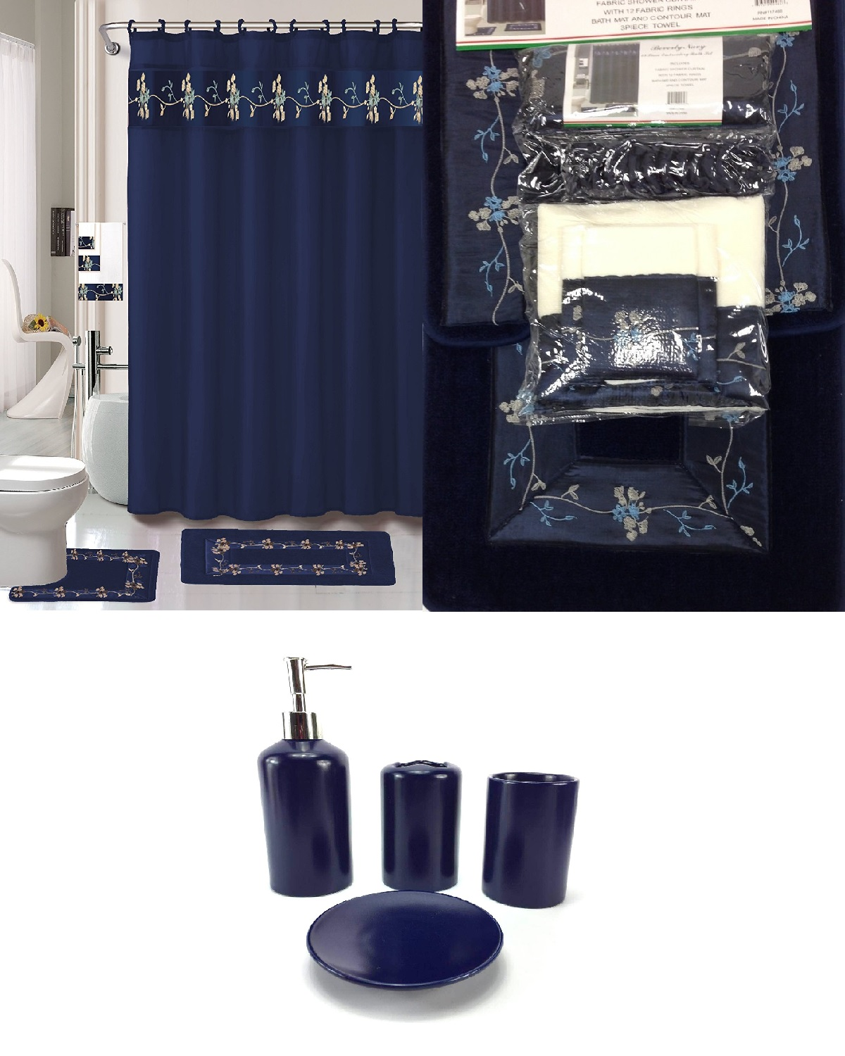 Click here to buy 22 Piece Bath Accessory Set Navy Blue Flower Bathroom Rug Set + Shower Curtain &....