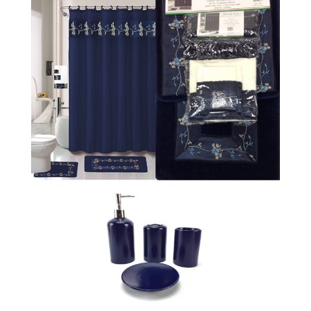 (22 Piece Bath Accessory Set Navy Blue Flower Bathroom Rug Set + Shower Curtain & Accessories)