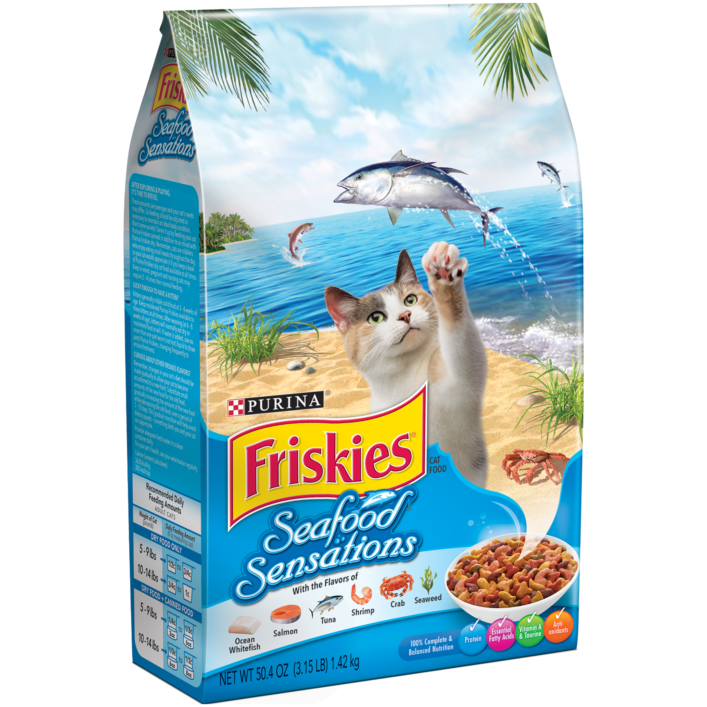 Purina Friskies Seafood Sensations Cat Food 3.15 lb. Bag