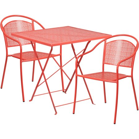 Flash Furniture 28'' Square Indoor-Outdoor Steel Folding Patio Table Set with 2 Round Back Chairs, Multiple Colors ()