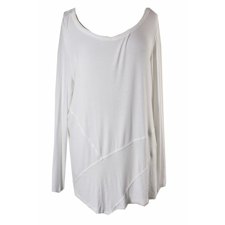 Style & Co Bright White Raw-Edge Scoop-Neck Tee M