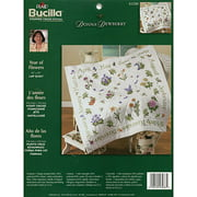 "Bucilla Donna Dewberry Year Of Flowers Lap Quilt Stamped Cross Stitch, 45"" x 45"""