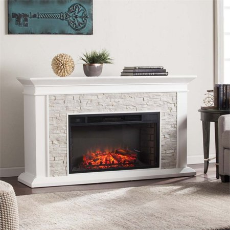 Bowery Hill Faux Stone Electric Fireplace ()