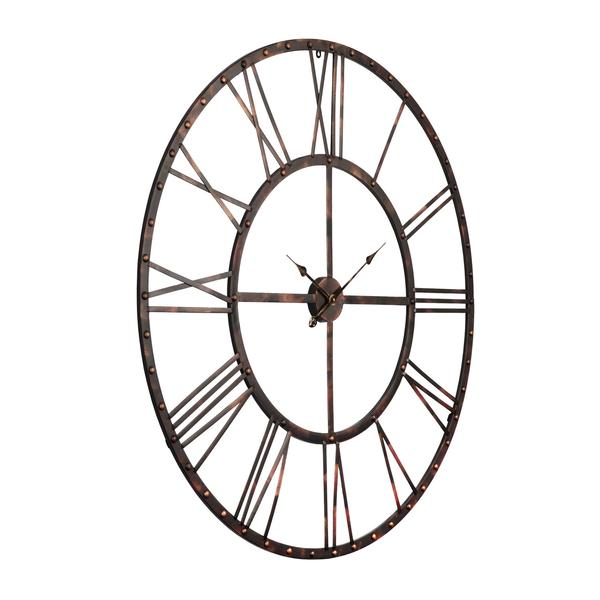 Utopia Alley Rivet Roman Industrial Oversized Wall Clock Antique