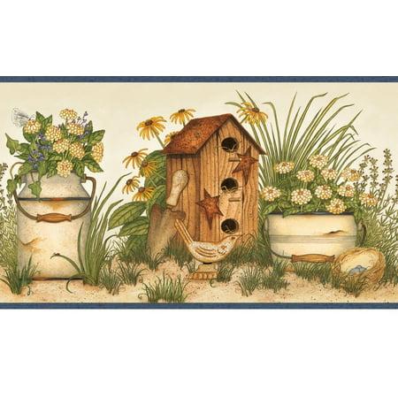 878404 Buckets of Blooms Birdhouses Wallpaper Border AAI08052b