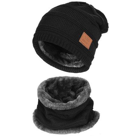 95a764d1a8f VBIGER - VBIGER 2-Pieces Winter Beanie Hat Scarf Set Warm Knit Hat Thick  Knit Skull Cap for Men Women - Walmart.com