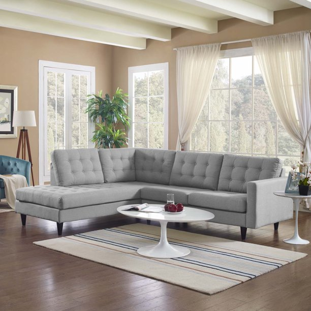 Modway Empress 2 Piece Upholstered Fabric Left Facing Sectional, Multiple Colors