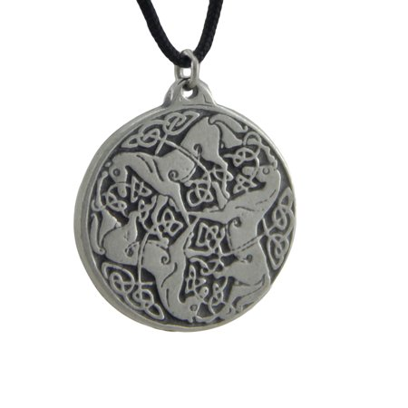 Solid Pewter Celtic Horses Endless Knot Talisman Pendant W/ Cord Necklace