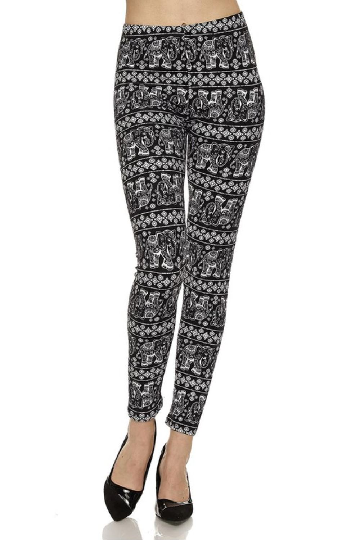 Juniors' Leggings Celebrity Elephant Print Brushed Pants Black (MultiColor,Small)