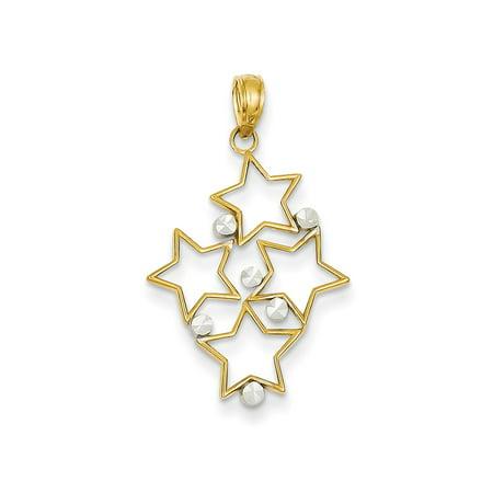 Star Cluster Pendant (14K Two-tone Diamond-cut Star Cluster Pendant)