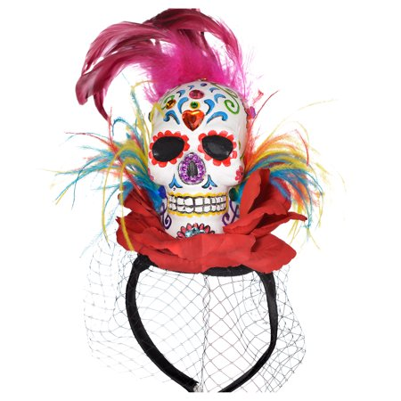 Suit Yourself Day of the Dead Sugar Skull Fascinator Headband Couture for Adults, Features a Colorful Skull and a