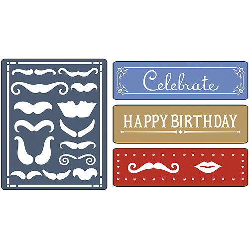 Sizzix Textured Impressions Embossing Mustache 4Folders Set