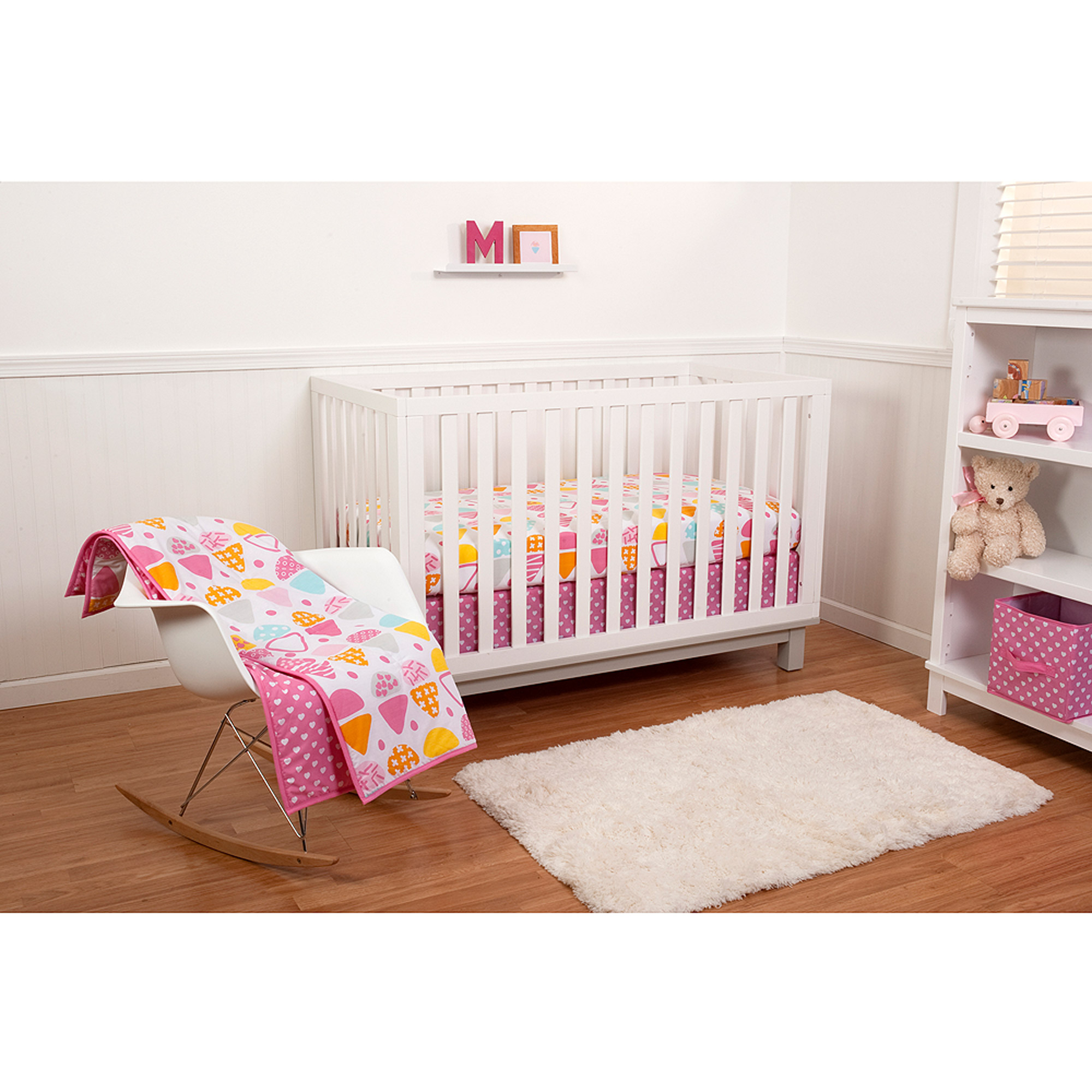 Little Bedding by Nojo Reversible Sweet Dreams/Pink Hearts Print 6-Piece Crib Bedding Set