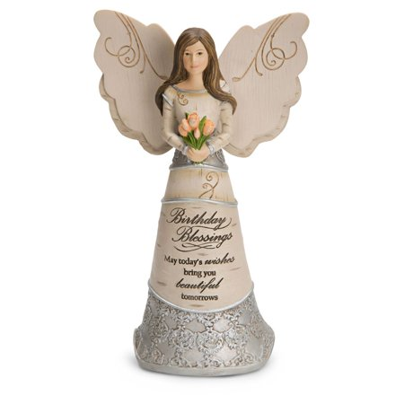 Pavilion Gift Company Elements 82413 Birthday Blessings   Angel Holding Tulips