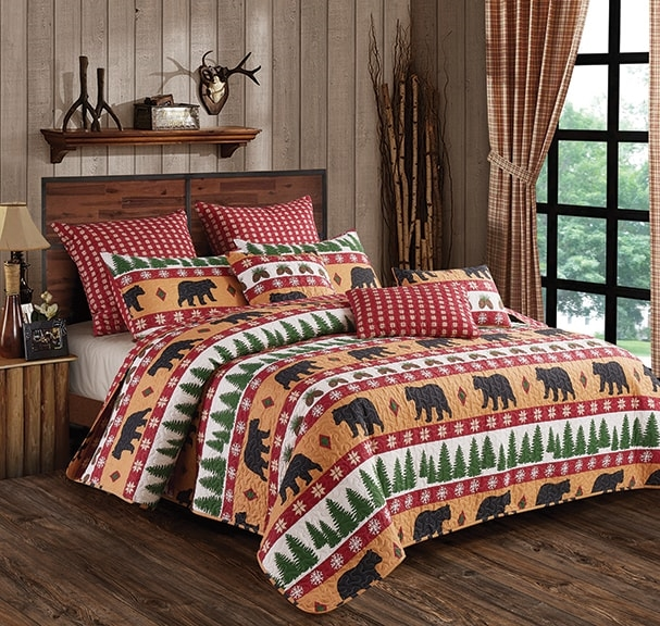 Winter Bear Rustic Burn Orange and White Quilt and Sham Set - Queen and Full Size