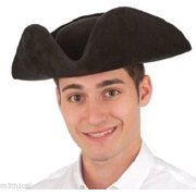 Adult Faux Suede Colonial Tri-Corner Tricorn Pirate Revolutionary Hat Costume by Jacobson Hat Company