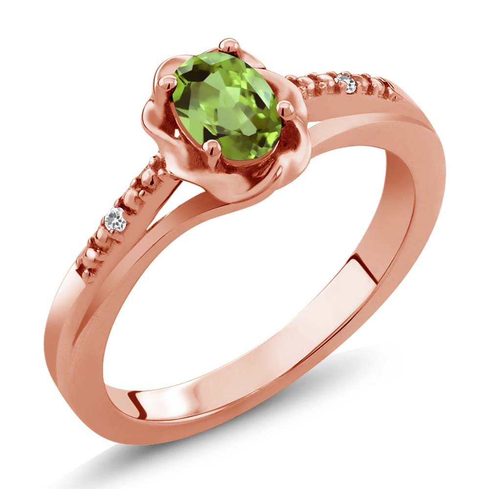 0.52 Ct Oval Green Peridot White Sapphire 18K Rose Gold Ring by