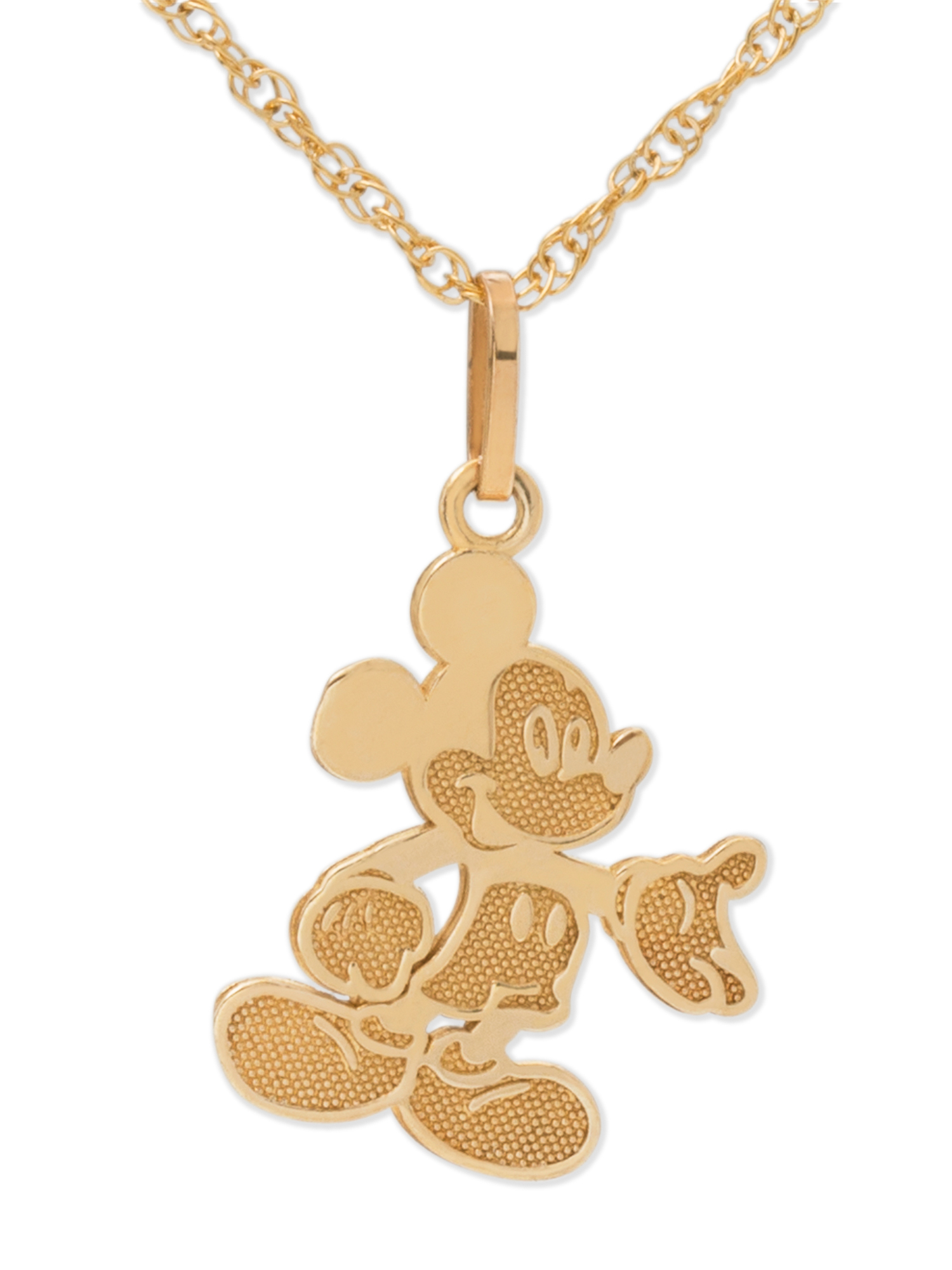 Disney 10kt Yellow Gold Full Body Mickey Mouse Pendant Necklace with Gold-Filled Chain