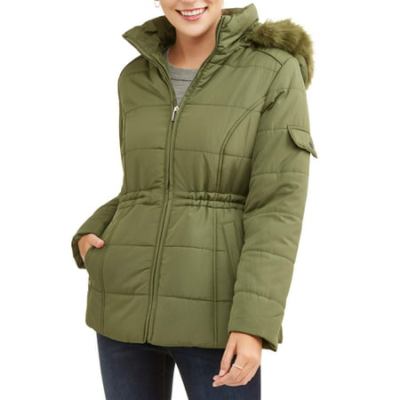 - Women's Quilted Puffer Jacket with Faux Fur-Trim Hood
