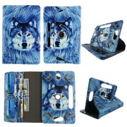 """Wallet style folio tablet for Huawei Media Pad Link case 10 inch Slim fit standing protective rotating for 10"""" universal carrying cases 10.1 PU leather cash Pocket cover Snow Wolf"""