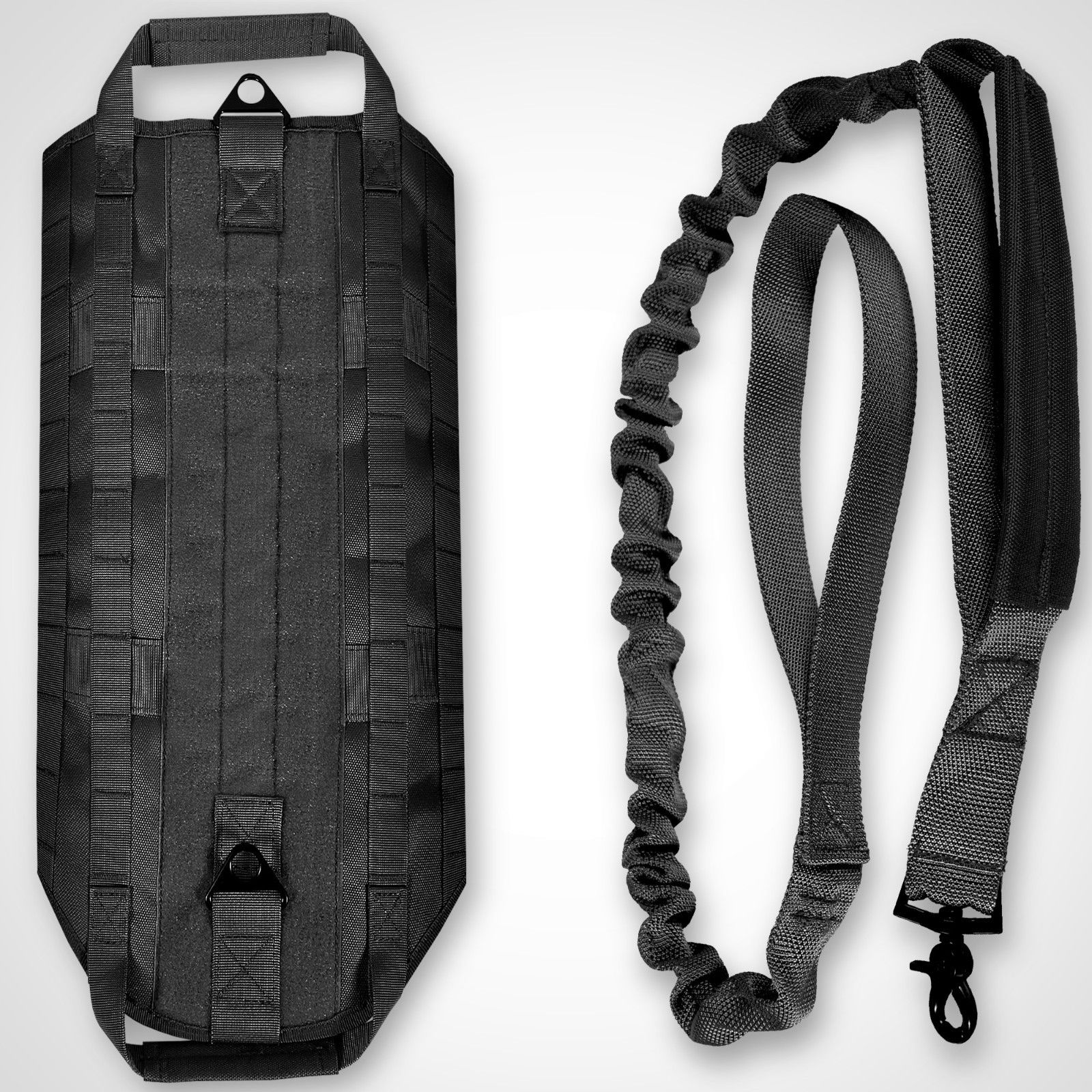 LIVABIT [ Black ] K9 Service Dog Tactical Molle Vest Harness + Matching Heavy Duty Bungee Leash Strap Large