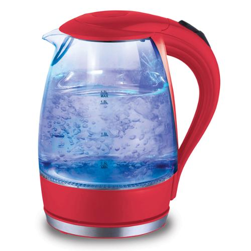 Cordless 1.7 Liter Drip free Glass Electric Kettle with Automatic Pop-Up Lid Red