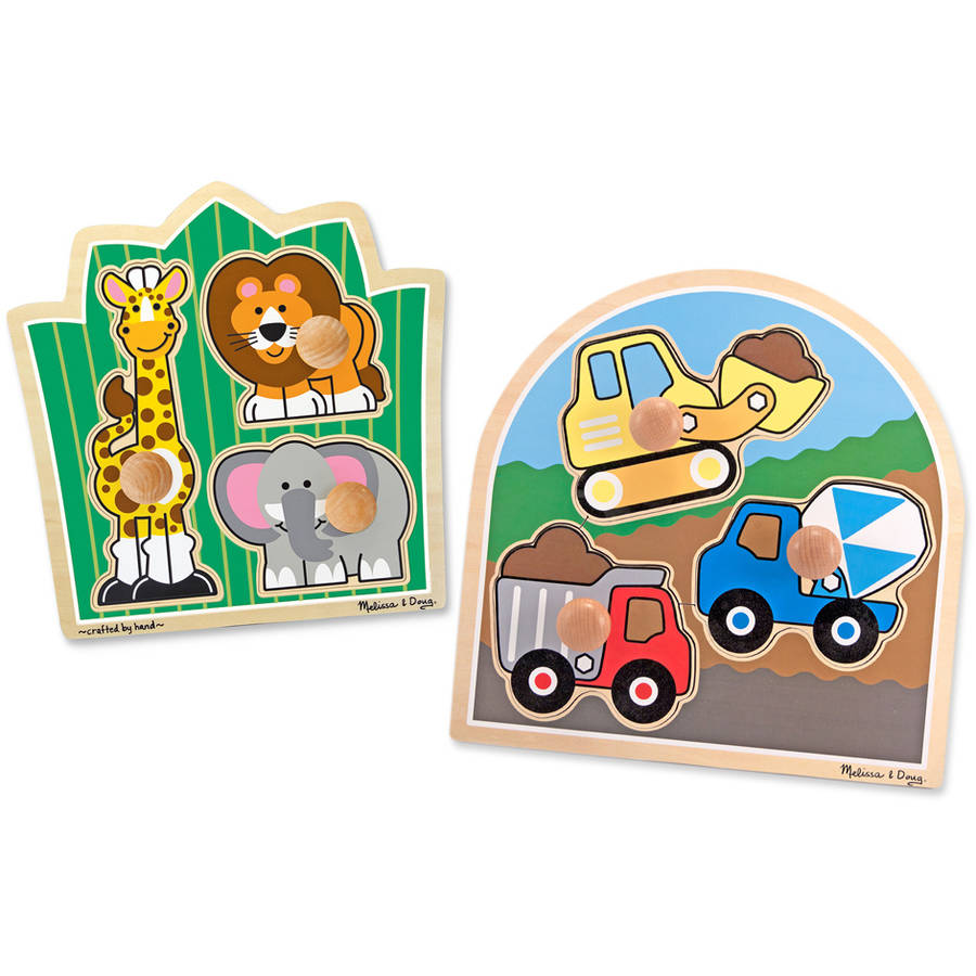 Generic Melissa & Doug Jumbo Knob Wooden Puzzles Set  -  Construction and Safari