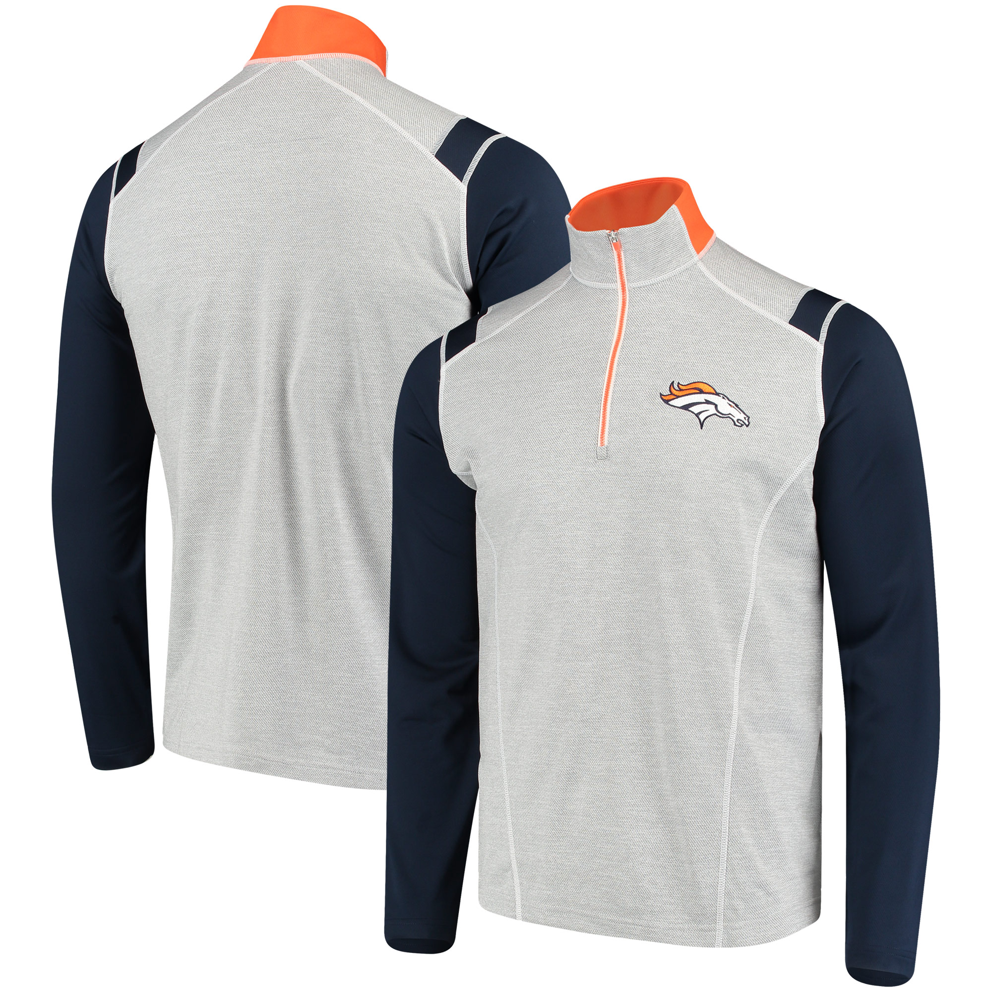 Denver Broncos Antigua Automatic Quarter-Zip Jacket - Navy/Heathered Gray