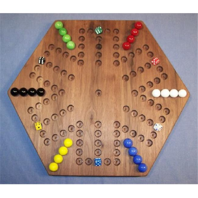 THE PUZZLE-MAN TOYS W-1935 Wooden Marble Game Board - Aggravation - 18 inch Hexagon - 6-Player  5-Hole - Black Walnut
