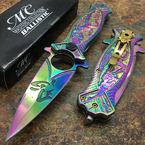 Masters Collection MC-A030RB Spring Assist Folding Knife, Rainbow Blade, Rainbow Handle, 4.5-Inch Closed