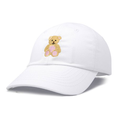 DALIX Youth Cute Teddy Bear Hat Cotton Baseball Cap in White ... 9d9c22a2ae3