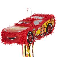 Party City Cars 3 Lightning McQueen Pull String Pinata, 6? x 8 1/4? x 19?