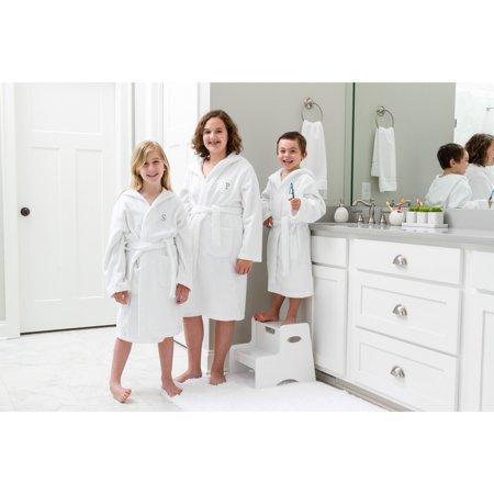 Linum Home Sweet Kids Turkish Cotton Terry White with Dark Grey Block Monogram Hooded Bathrobe ()