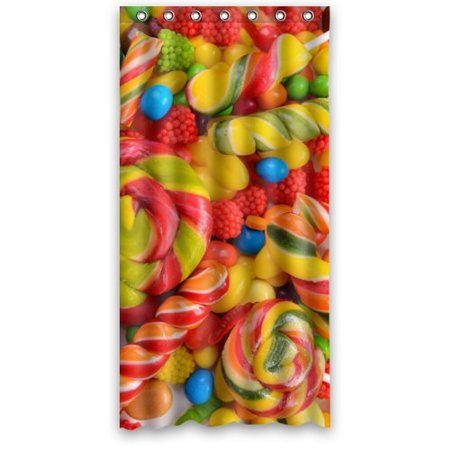 HelloDecor Delicious Sweet Candies Shower Curtain Polyester Fabric Bathroom Decorative Size 36x72 Inches