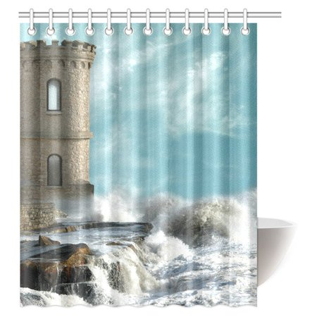 Mypop Meval Decor Shower Curtain Old Middle Age Tower With Agitated Coast And Rocks