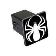 """Spider White On Black - Spiderman 2"""" Tow Trailer Hitch Cover Plug Insert"""