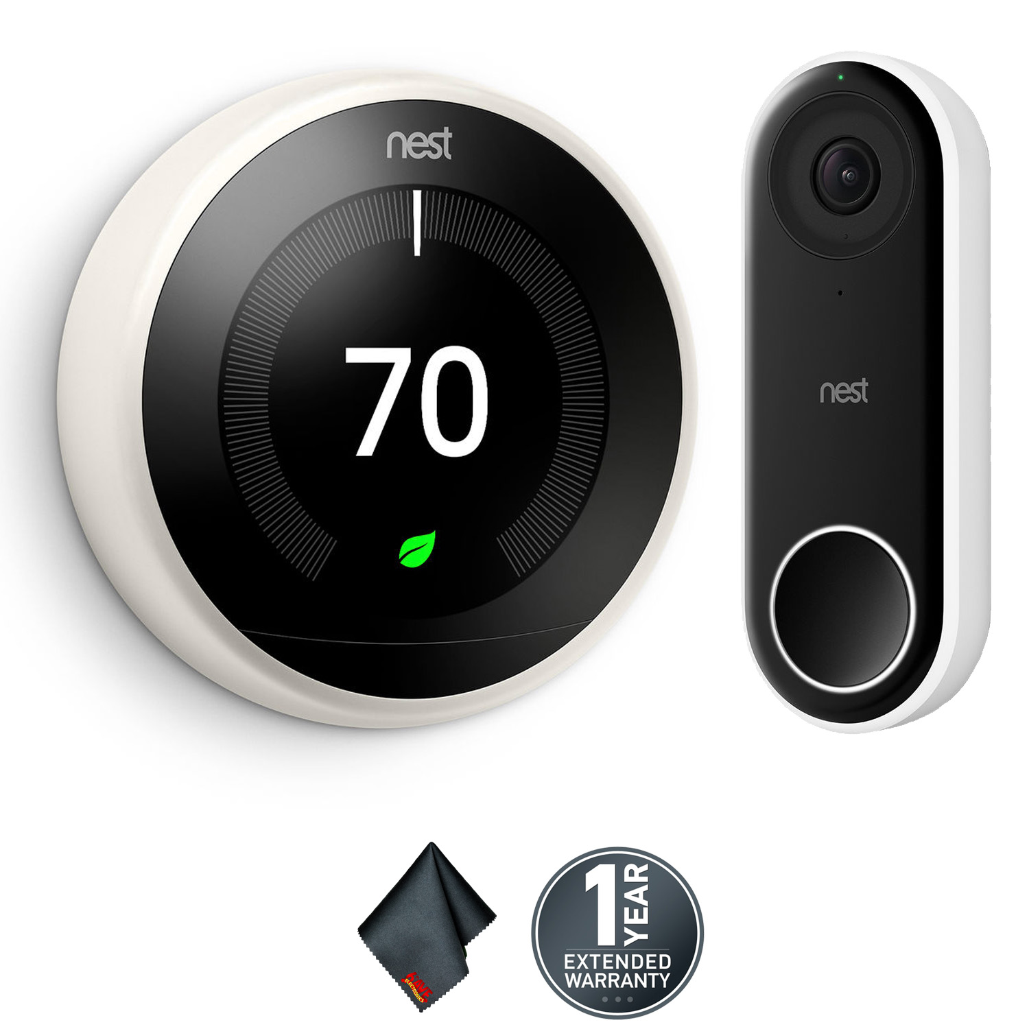 Nest Learning Thermostat (3rd Generation, White) + Hello Video Doorbell with Wi-Fi