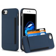 Apple iPhone 8, iPhone 7 Wallet Phone Case Protective Cover with 3 Cedit Card ID Holder Slot [Slim] Heavy Duty Shock Absorption Hybrid Hard PC + TPU Armor NAVY BLUE Case for Apple iPhone 8 / 7