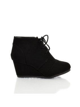 RexIIS by Happy Soda, Children Girl Shoe Almond Toe Lace Up Oxford Wedge Heel Ankle Bootie