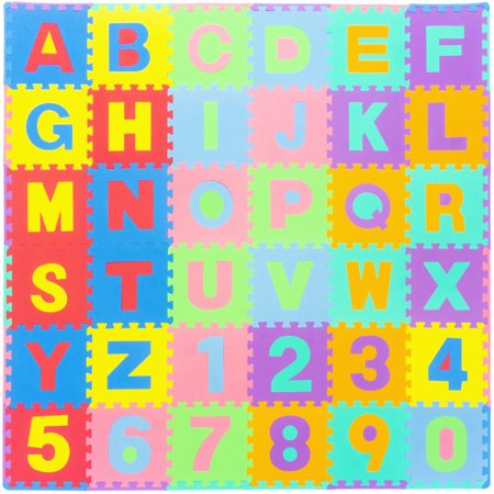 "ProSource Kids Foam Puzzle Floor Play Mat with Alphabet Letters & Numbers 36 Tiles (12""x12"") and 24 Borders ()"