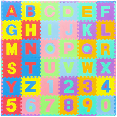 "Alphabet Foam Storage - ProSource Kids Foam Puzzle Floor Play Mat with Alphabet Letters & Numbers 36 Tiles (12""x12"") and 24 Borders"